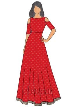 Red Brocade Cold Shoulder Gown