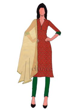 Red Brocade Collar Neck Straight pant Suit