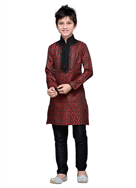 Red Brocade Embroidered Boys Kurta Pyjama