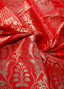 Red Art Silk Brocade Fabric