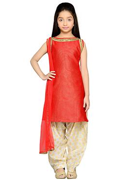Red Brocade Kids Semi Patiala Suit