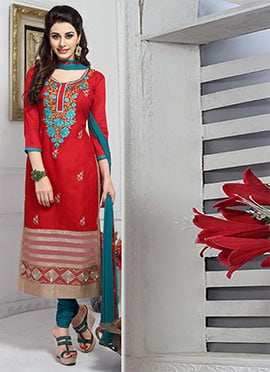 Red Cambric Cotton Straight Suit