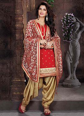 Red Chanderi Art Silk Patiala Suit