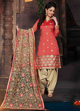 Red Chanderi Art Silk Patiala Suit