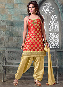 Red Chanderi Art Silk Salwar Suit