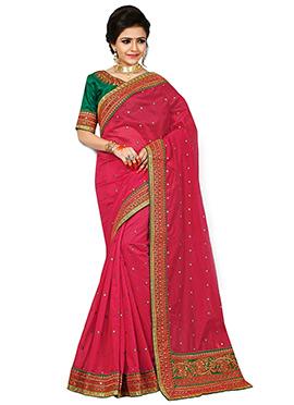 Red Chanderi Art Silk Saree