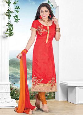 Red Chanderi Cotton Churidar Suit