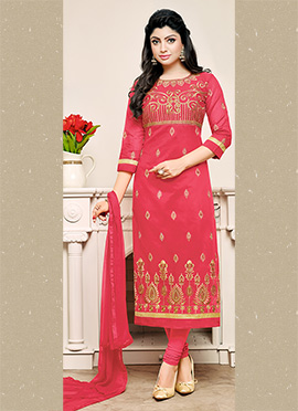 Red Chanderi Cotton Churidar Suit