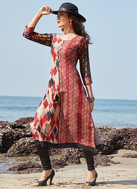 Red Chanderi Silk Kurti