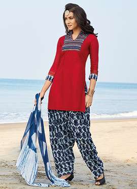 Red Chanderi Silk Salwar Suit