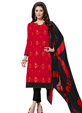 Red Chanderi Art Silk Straight Pant Suit