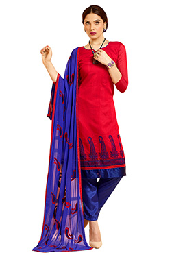 Red Chanderi Straight Pant Suit