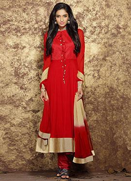 Red Chiffon Anarkali Suit