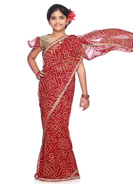 Red geoegette Bandhini Pattern Printed Kids Saree