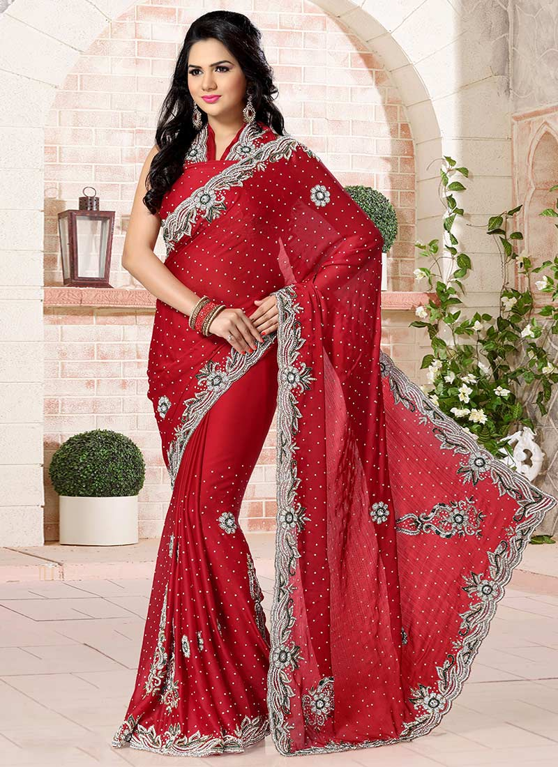 Buy Red Chiffon Saree Stones Sari Online Shopping Sakvfsc1