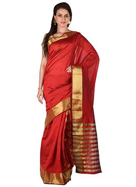 Red Circular Pattern Benarasi Silk Border Saree