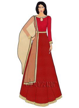 Red Close Collar Brocade Abaya Suit