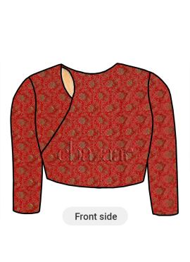 Red Close Neck Embroidered Blouse
