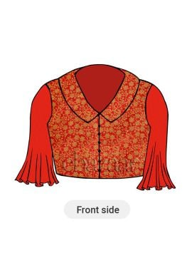 Red Collared Blouse With Red Flared Sleeves
