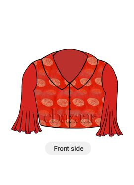 Red Collared Blouse With Three fourth Flared Sleeves