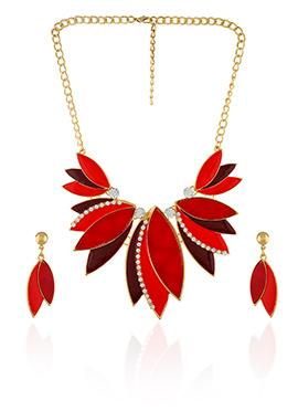 Red Color Floral Shaped Necklace Set