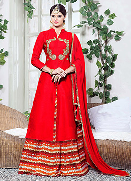 Red Cotton A Line Lehenga