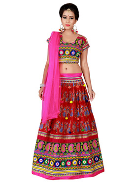 Red Cotton Chaniya Choli Lehenga