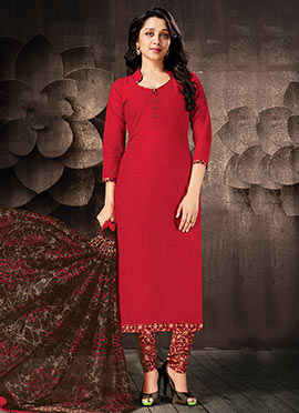 Red Cotton Churidar Suit