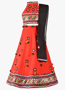 Red Cotton Kids Chaniya Choli Set