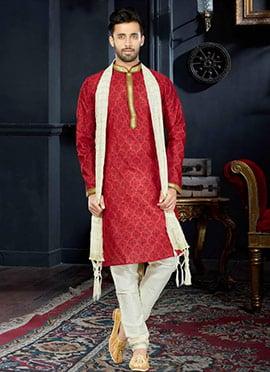 Red Cotton Kurta Pyjama