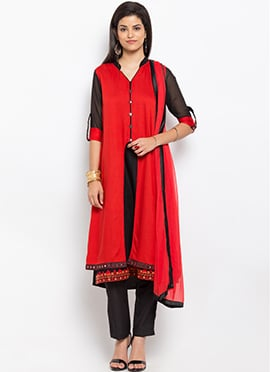 Red Cotton Layered Straight Pant Suit