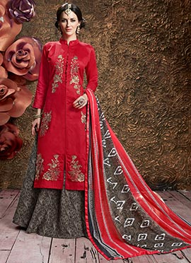 Red Cotton Long Choli A Line Lehenga