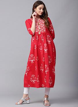 Red Cotton Long Kurti