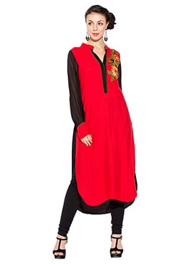 Red Cotton Long Kurti