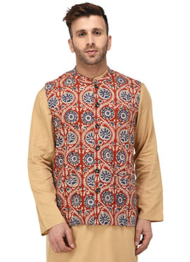 Red Cotton Nehru Jacket