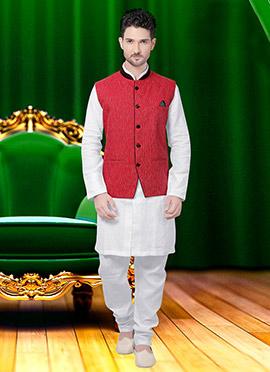 Red Cotton Nehru Jacket