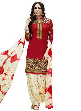 Red Cotton Semi Patiala Suit