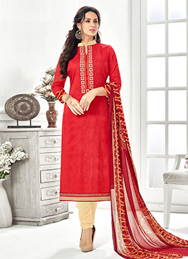 Red Cotton Rayon Churidar Suit