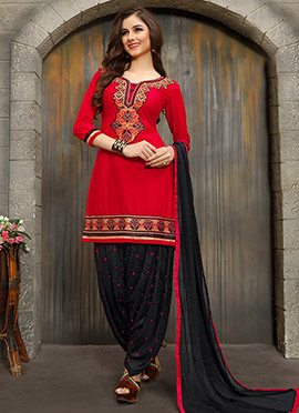 Red Cotton Salwar Suit