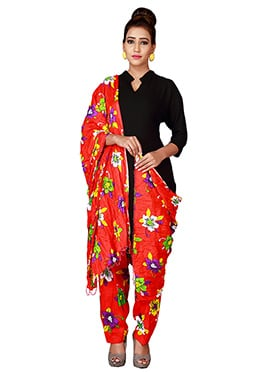 Red Cotton Semi Patiala Pant