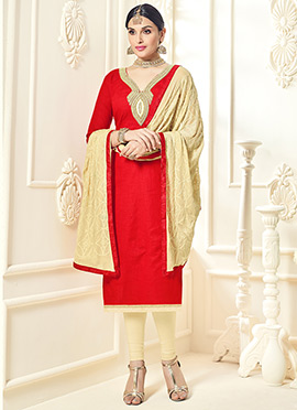 Red Cotton Silk Straight Suit