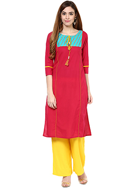Red Cotton Straight Pant Set