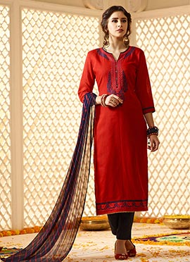 Red Cotton Straight Pant Suit