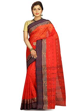 Red Cotton Tant Saree