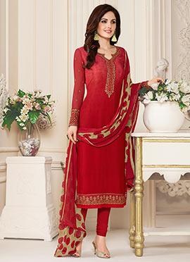 Red Crepe Churidar Suit