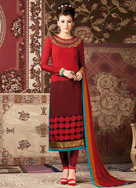 Red Crepe Straight Suit