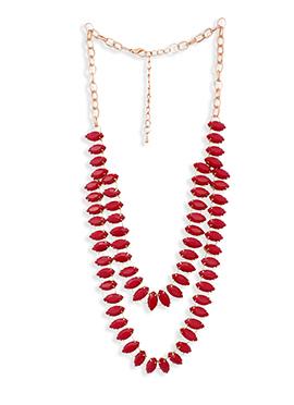Red Crystal Studded Necklace Set