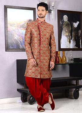 Red Dhoti Style Indo Western Sherwani