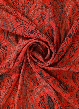 Red Digital Printed Modal Silk Fabric