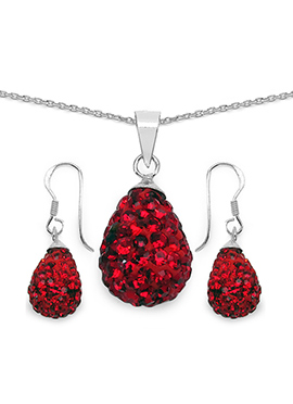 Red Crystal Stone Pendant Set